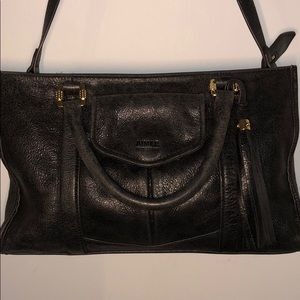 AIMEE KESTENBERG BLACK 100% LEATHER SATCHEL